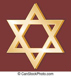 Judaism Symbol - Golden Star of David, symbol of the Jewish ...