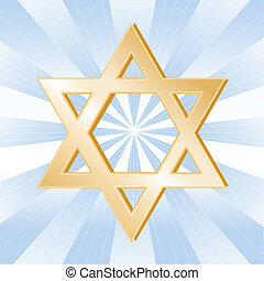 Judaism Symbol, Star of David - Golden Star of David, symbol...
