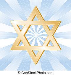 Judaism Symbol, Star of David - Golden Star of David, symbol...