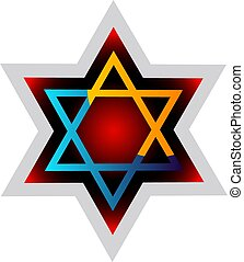 Judaism symol colorful vector illustration on a white...