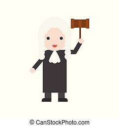 Judge and judge hammer, Set Profession character of people in uniform, flat design