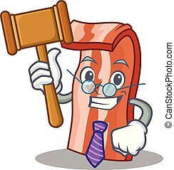 Judge bacon mascot cartoon style vector illustration