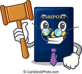 Judge blue passport isolated with the cartoons