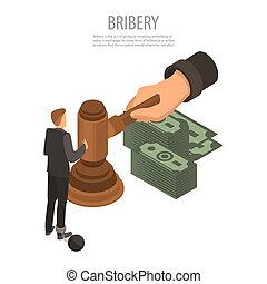 Judge bribery concept background, isometric style - Judge...