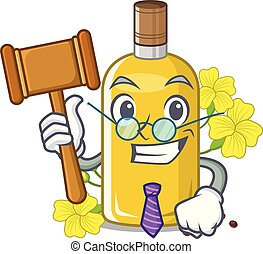 Judge canola oil poured into cartoon glass vector ...