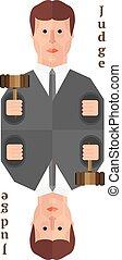 Judge card flat design vector illustration