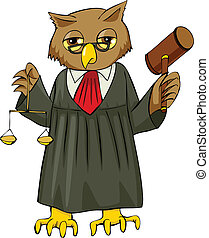 Judge - Cartoon illustration of an owl as a judge