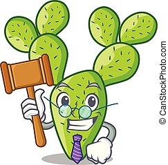 Judge cartoon the prickly pear opuntia cactus vector illustration