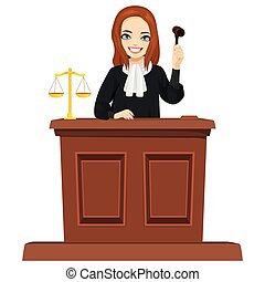 Young female judge character with gavel hammer