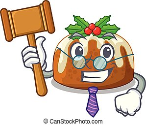 Judge christmas pudding isolated on the mascot
