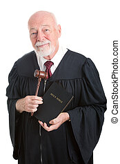 Judge - Church and State - Judge holding his gavel and a...