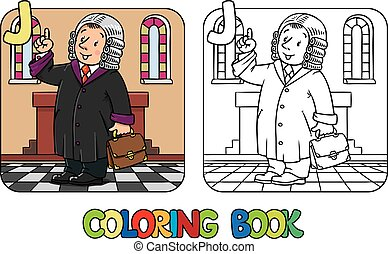 Judge Coloring book. Alphabet J. Profession ABC - Coloring...