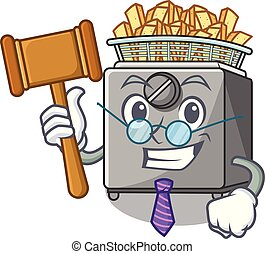 Judge deep fryer machine isolated on mascot vector...
