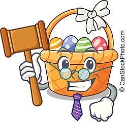 Judge easter basket above wooden cartoon table