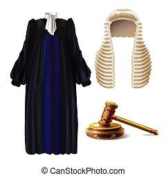 Judge formal dress and gavel realistic vector
