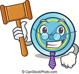 Judge frisbee next a wooden cartoon table