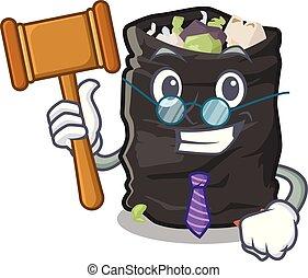 Judge garbage bag behind the character door