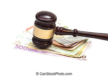 Judge gavel and euro banknotes isolated