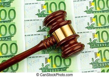judge gavel and euro banknotes
