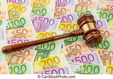 judge gavel and euro banknotes. symbolic photo for costs in...