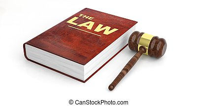 Judge gavel and law book on white background. 3d illustration