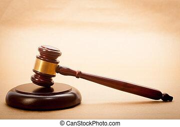 Judge Gavel and Soundboard - A wooden gavel and soundboard...