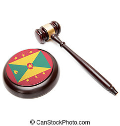 Judge gavel and soundboard with national flag on it - Grenada