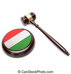Judge gavel and soundboard with national flag on it - Hungary