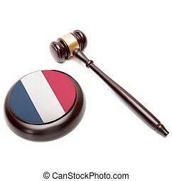 Judge gavel and soundboard with national flag on it - France