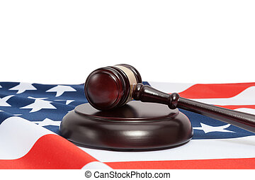 Judge gavel and USA flag on white background