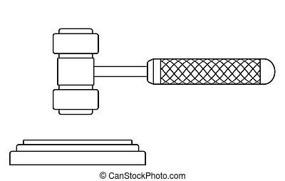 Judge gavel contour illustration