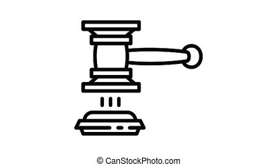 Judge gavel decision icon animation best object on white background