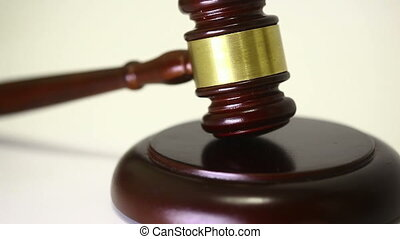 Judge Gavel - A wooden judge gavel and soundboard on a white...