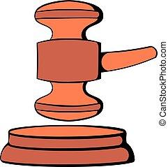 Judge gavel icon cartoon