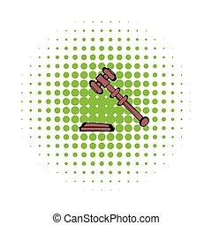 Judge gavel icon, comics style