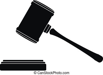 Judge gavel icon on white background.