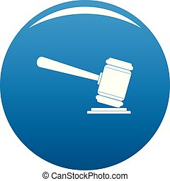 Judge gavel icon vector blue