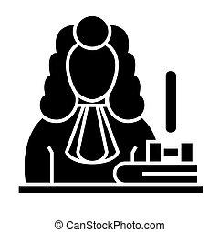judge - gavel  icon, vector illustration, black sign on isolated background