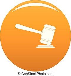 Judge gavel icon vector orange