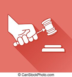 Judge gavel in hand symbol, vector