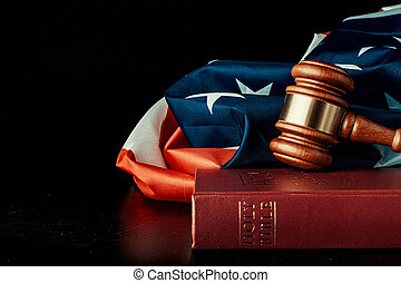 judge gavel on the background of usa flag