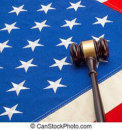 Judge gavel over US flag - closeup shoot - 1 to 1 ratio