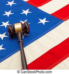 Judge gavel over USA flag - closeup shoot