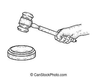 Judge gavel sketch engraving vector illustration. T-shirt apparel print design. Scratch board style imitation. Hand drawn image.