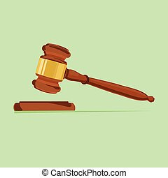 Vector illustration wooden judge gavel and soundboard isolated on white background