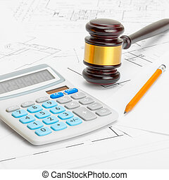 Judge gavel with calculator and pencil - 1 to 1 ratio