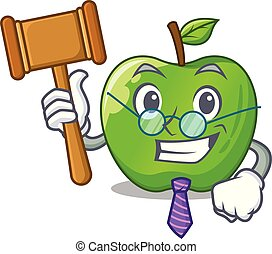 Judge green smith apple isolated on cartoon