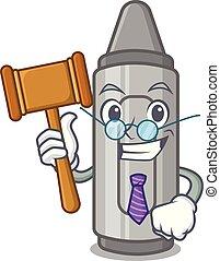 Judge grey crayon in a bag cartoon