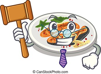Judge grilled salmon on a cartoon plate