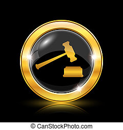 Judge hammer icon - Golden shiny icon on black background -...